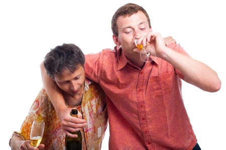 Two drunken men drinking alcohol, isolated on white background.