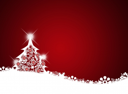 Christmas background for your designs in red with a Christmas Tree