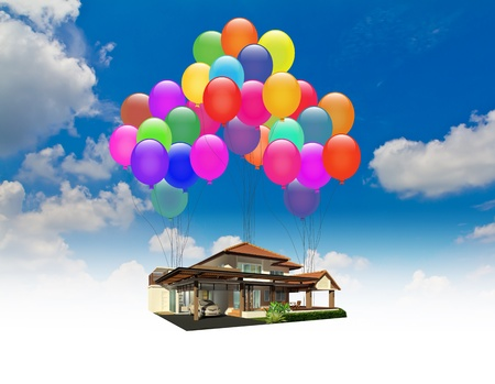 A house lifted by Balloons over blue sky