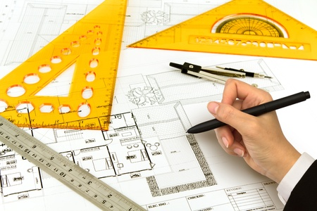 Photo for Hand draw Blueprint of a house - Royalty Free Image