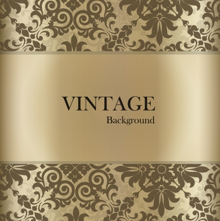 Photo for Seamless retro pattern background with vintage label. - Royalty Free Image