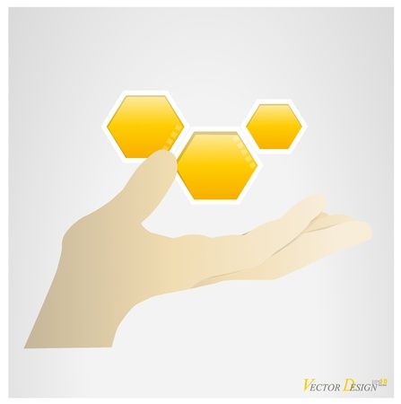 Hand with LOGO (honeycomb).