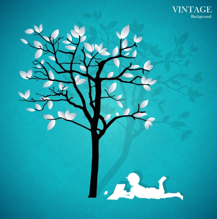 Illustration for Background with children read a book under tree.  - Royalty Free Image