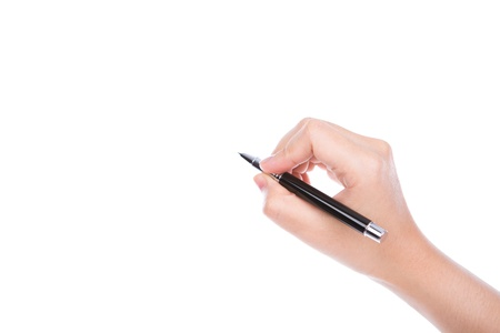 Woman  hand with pen on a white background