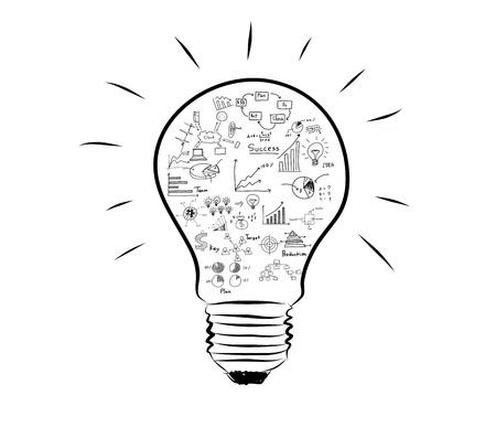 Photo pour Light bulb with drawing graph inside - image libre de droit