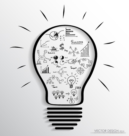 Light bulb with elements of infographics and graph. Vector illustration.
