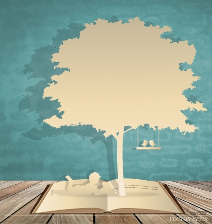 Abstract background with children read a book under tree. Vector Illustration.