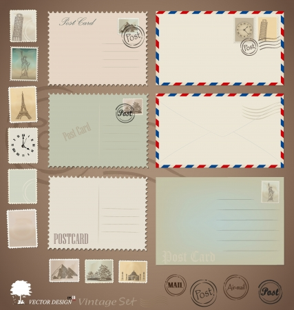 Illustration set: Vintage postcard designs, envelopes and stamps.