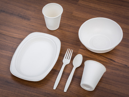 Eco friendly Unbleached plant fiber dishware set : plate, spoon ,cup