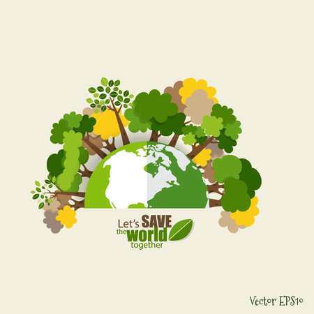 Illustration for ECO FRIENDLY. Ecology concept with Green Eco Earth and Trees. Vector illustration. - Royalty Free Image