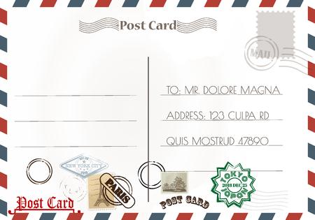 Illustration for Vintage postcard designs and stamps. - Royalty Free Image