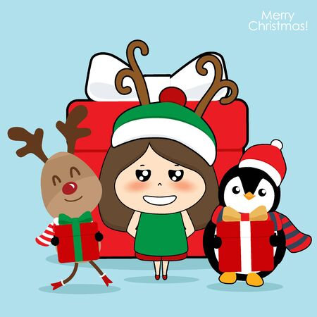 Illustration for Cute reindeer, Penguin and Cute character girl with santa costume. Christmas background. Christmas Greeting Card. Vector illustration. - Royalty Free Image