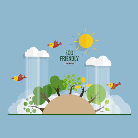 Illustration pour ECO FRIENDLY. Ecology concept with tree background. Vector illustration. - image libre de droit