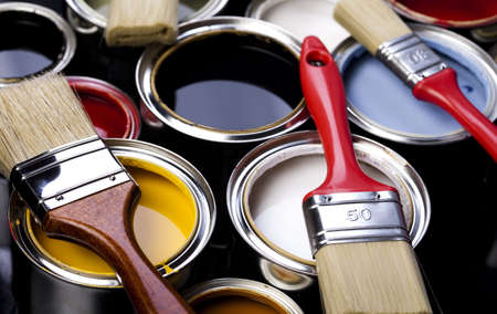 Paint, paint cans, brush