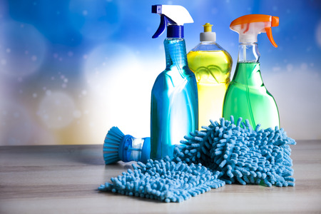 Photo pour Variety of cleaning products,home work - image libre de droit