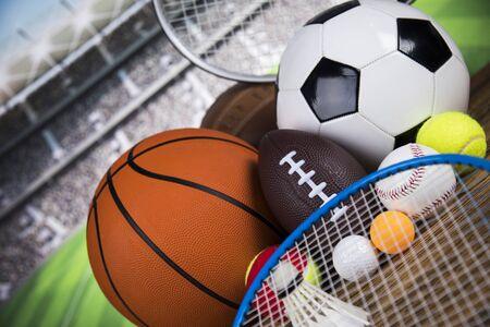 Photo pour Assorted sports equipment, Winner background - image libre de droit