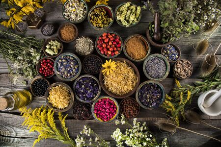 Photo pour Homeopathy, herbal medicine on wooden table - image libre de droit