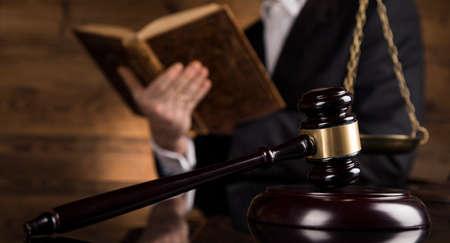Photo pour People, law concept, Wooden gavel - image libre de droit