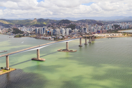 Third bridge (Terceira Ponte), panoramic view of Vitoria, Vila Velha from Morro do Morena, Espirito Santo, Brazil