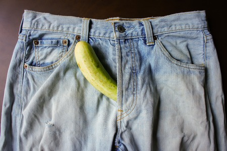 cucumber is the mark of penis in Jeans