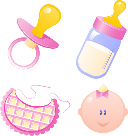 Illustration for Pink Vector baby's dummy, baby bottle, bib and baby girl. Isolated on white. EPS 8 - Royalty Free Image
