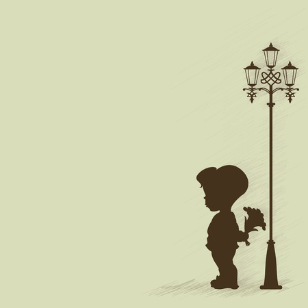 Illustration for Boy with a bouquet of standing under a street lamp. Silhouette. - Royalty Free Image
