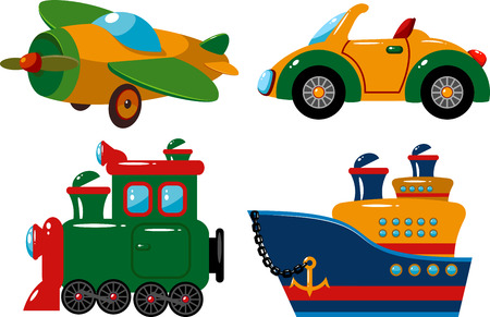 Set of vehicles: plane, car, train and ship.