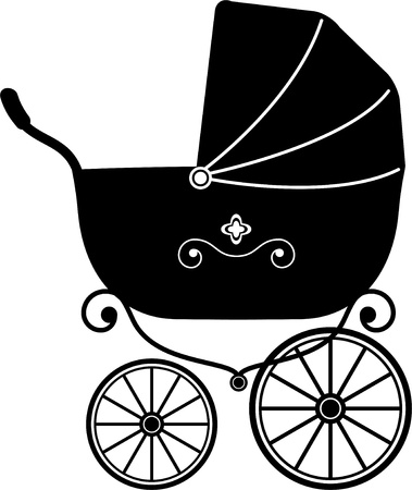 Illustration for Baby Stroller over white (Silhouette)  - Royalty Free Image