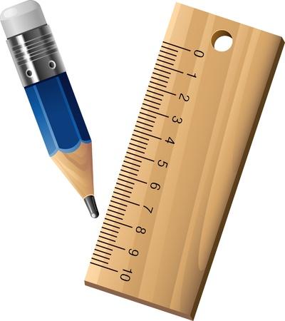 Illustration pour Ruler and pencil over white  - image libre de droit