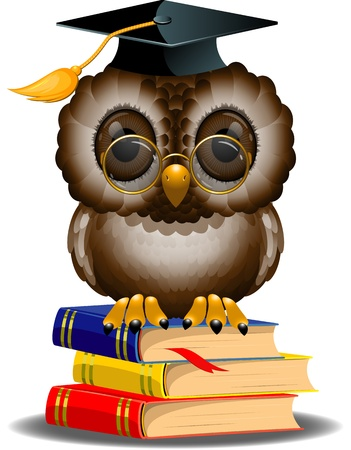 Wise owl on a stack of books. EPS 10