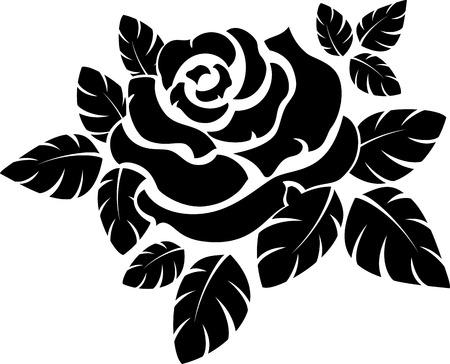 Illustration pour Vector rose silhouette isolated on white  - image libre de droit