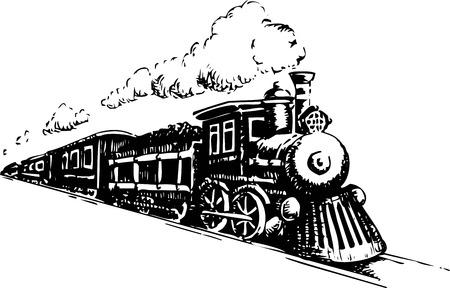 Ilustración de Old Steam Locomotive. Vector illustration on a white. - Imagen libre de derechos
