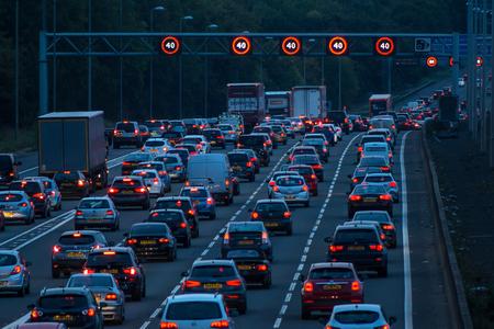Photo for Watford, UK - September 24, 2017: Evening traffic jam on British motorway M1.M25/M1 junction. - Royalty Free Image