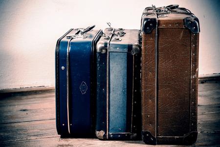 Photo pour beautiful old blue and brown suitcases - retro style - image libre de droit