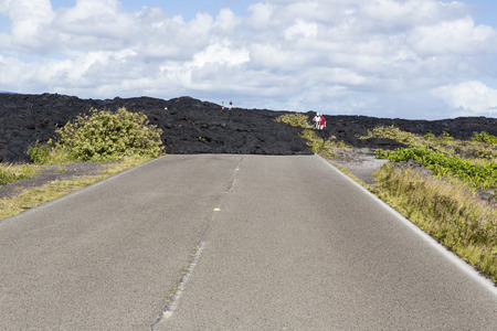 lava over the road - hawaii volcanoes national park