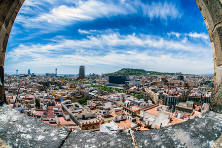 View from gothic church Santa Maria del Pi in Barcelona, Spain