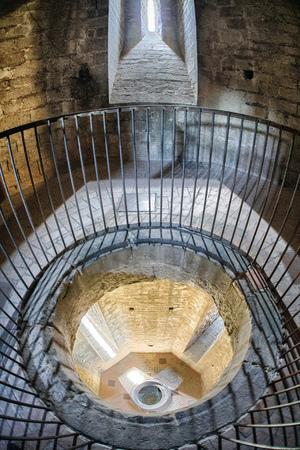 Tower interior of gothic church Santa Maria del Pi in Barcelona, Spain