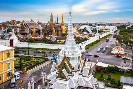 Grand Palace, Wat Phra Kaew   Lak Mueang, Bangkok, landmark of Thailand  - The Wat Phra Kaew or Temple of the Emerald Buddha is located in the historic centre, within the precincts of the Grand Palace