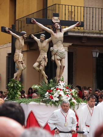 TORDESILLAS, SPAIN - APRIL 22: Holy week processionist and altar servers accompany Christ in the Tordesillas procession, Valladolid (Spain)