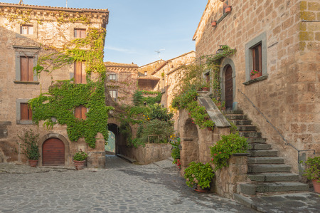 Tuscan village with stairwell
