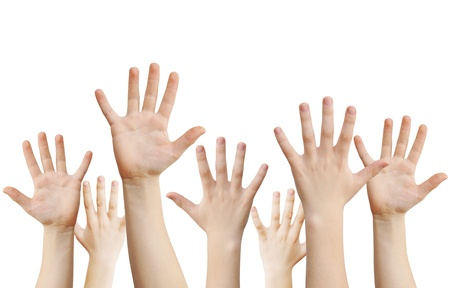 Human hands raised up, isolated on white,