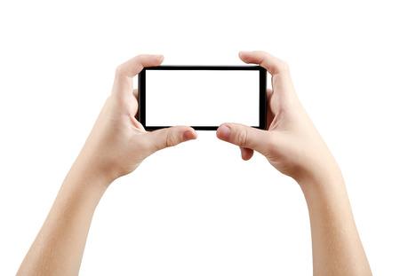 Foto de Two hands holding big screen smart phone, clipping path - Imagen libre de derechos
