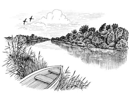 Summer riverbank landscape, ink drawing