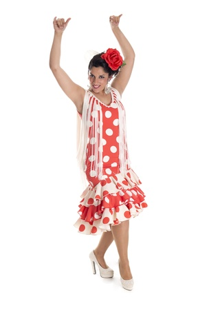 a dancer flamenco with a typical Andalusian costume, southern Spain