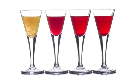 Photo pour several shot glasses with different drinks, which combined represent the flag of a country - image libre de droit