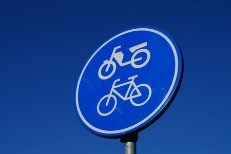 Traffic sign for bicycle and moped