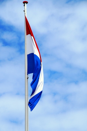 Dutch Flag without Wind to Wave red white and blue