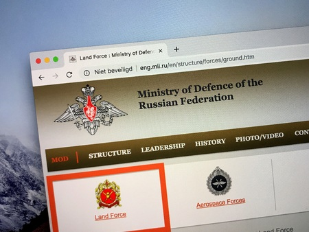 Amsterdam, Netherlands - October 5, 2018: Official homepage of The Ministry of Defense of the Russian Federation, the governing body of the Russian Armed Forces.