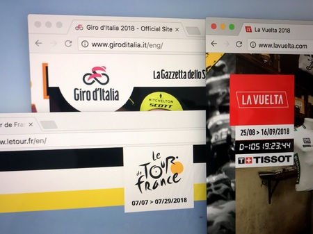 Almere, Netherlands - May 11, 2018: Official websites of the three major European cycling stage races: Tour de France, Giro d'Italia and Vuelta a Espa a. Collectively they are termed the Grand Tours.