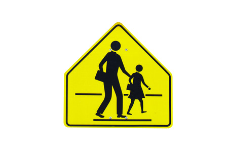 Photo for Traffic School warning sign isolated on white background - Royalty Free Image